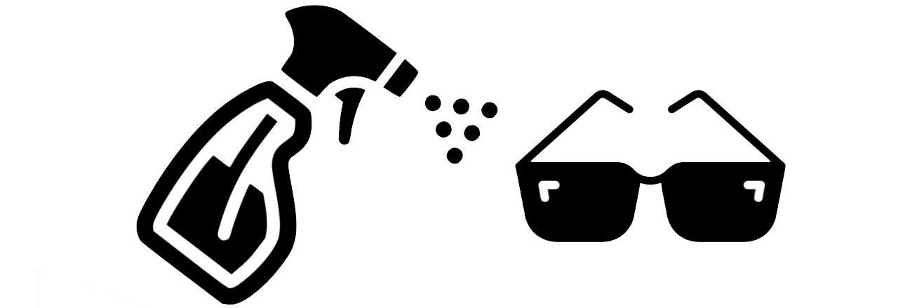 Sanificazione degli occhiali senza danneggiarli.